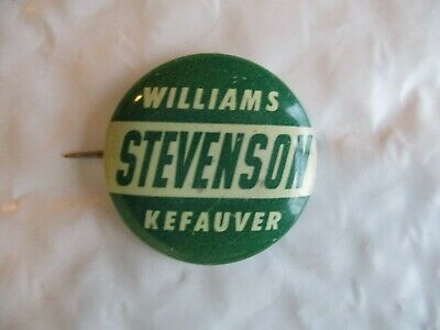 1952 Presidential Michigan Stevenson Kefauver Williams Pin Back Campaign Button