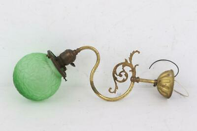 Antique Green Brain Art Deco Shade on Converted Brass Gas Fixture Dated 1890