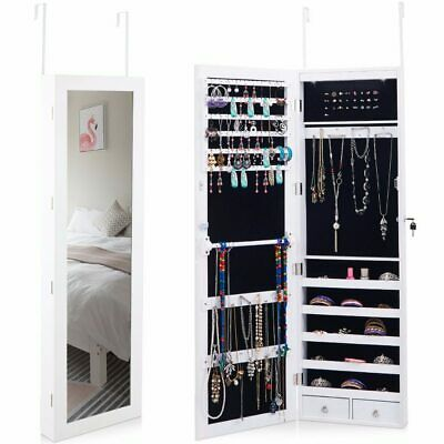 Giantex Wall Door Mounted Mirror Jewelry Cabinet Lockable Armoire Organizer w/
