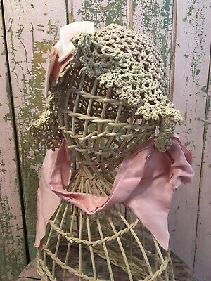Adorable Antique Childs Crocheted Bonnet Pink Bows And Ribbon 1880s #A