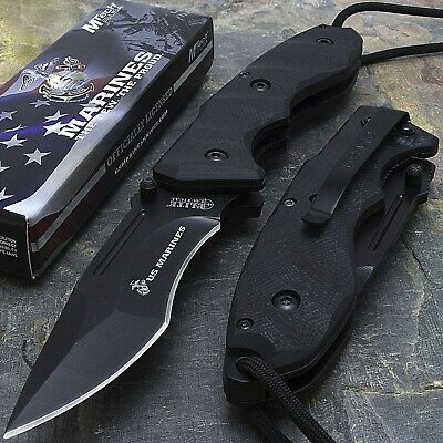 "9"" Usmc Marines Licensed Spring Assisted Tactical Folding Pocket Knife Edc"