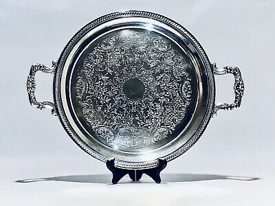 Stunning Antique 1883 FB Rogers Round Tray Silver Plated With Handles