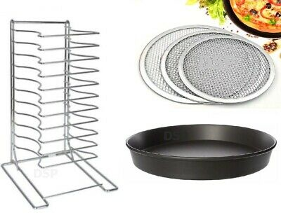 "Stainless Steel Pizza Pan Rack 11 Slot Shelf Stacking Size12x12"" Screen Lid Rack"