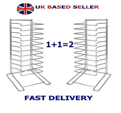 "2 QTY S/Steel Pizza Pan Rack 11 Slot Shelf Stacking Size 12x12"" Screen Lid Rack"