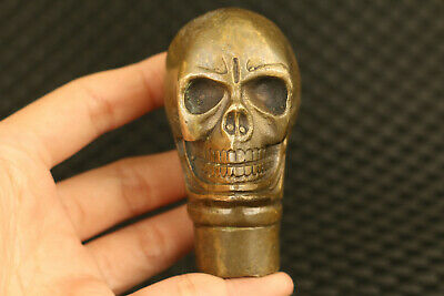 old Chinese bronze hand casting skull cane walking stick collect decorate gift