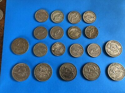 Vintage Coins New Zealand Lot Sixpence Shillings