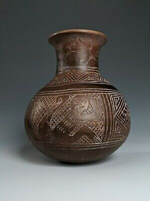 Pre Columbian Pottery Paracas Incised Monkey Vessel Chimu Blackwater Inca Peru