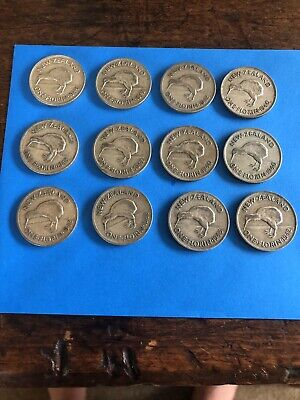 Vintage Coins New Zealand Lot  Of  12  1940s  Florins