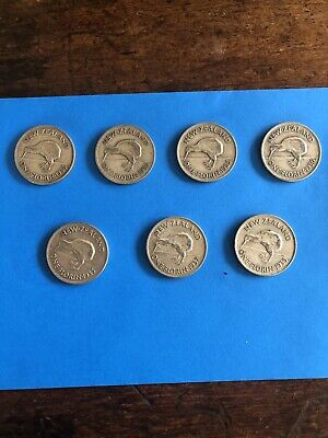 Vintage Coins New Zealand Lot  Of  7 1930s Florins