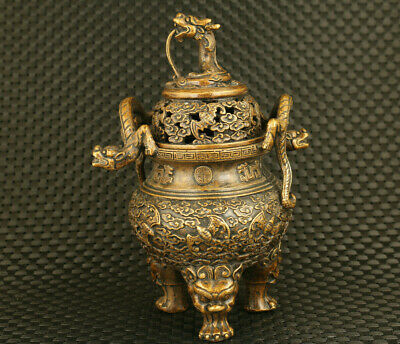 unique old Chinese bronze Handcasting dargon censer statue fengshui collectable