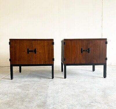 Milo Baughman for Directional Mid Century Modern Walnut Nightstands- A Pair