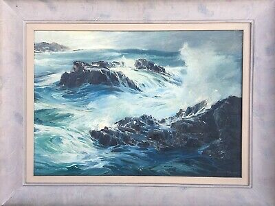 Joshua Meador Original Oil On Canvas Painting Seascape Waves