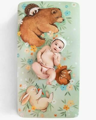 Enchanted Meadow Fitted Cot Sheet Baby Crib Woodland Animals Cute Boxed Gift