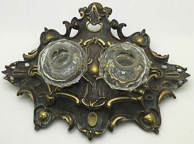 antique victorian desk stand brass 2 glass ink wells ornate inkwell
