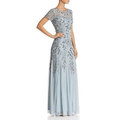 Adrianna Papell Womens Blue Tulle Floral Sequined Formal Dress Gown 10 BHFO 7924