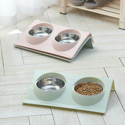 Large Double Dog Bowl Pet Stainless Steel Water and Food Bowls Feeder For Cat UK