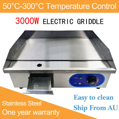 3000W Commercial Electric Griddle BBQ Grill Hotplate Stainless Steel Cooktop