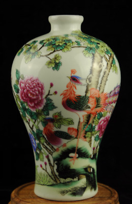 china old Famille-rose porcelain Hand painted phoenix vase /yongzheng mark Ab02J