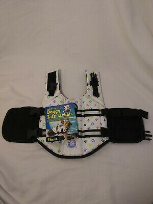XS Dog Life Jacket - Paws Aboard - White/Multi Color