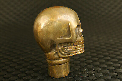 Chinese old bronze Hand casting skull statue walking stick collection gift art