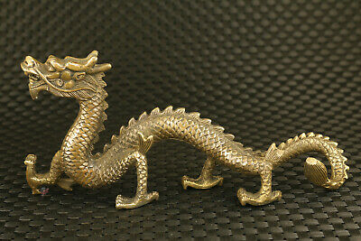 8 inch L Chinese bronze hand casting collect dargon statue table decoration