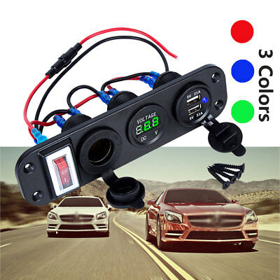 12V-24V Car Boat Dual USB Charger Splitter Cigarette Lighter Socket Power Outlet
