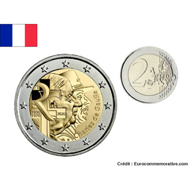 2 Euros Commémorative France 2020 '' Charles de Gaulle ''