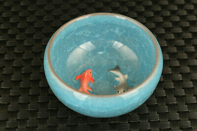 old chinese porcelain double fish statue collectable wine tea cup bowl decorate