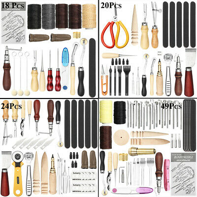 49X Leather Craft Punch Tools Stitching Carving Working Sewing Saddle DIY Kits