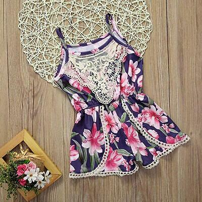 Infant Baby Girls Floral Sling Jumpsuit Sleeveless Romper Outfits Summer Clothes