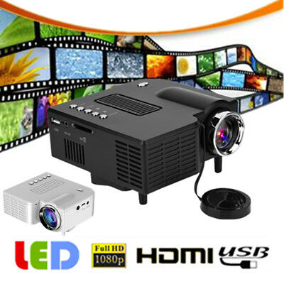 Mini HD LED Projector 1080P Home Theater Multimedia HDMI AV USB VGA IR Remote