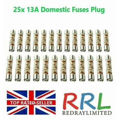 13 AMP Domestic 240V Household Mains Plug Fuse Electrical Cartridge Fuse x10