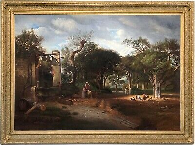 At The Village Well Antique Oil Painting 19th Century Northern European School