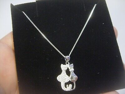 "Solid Silver 18"" Chain & ""Stunning"" High Grade Cubics Double Cat Pendent Quality"
