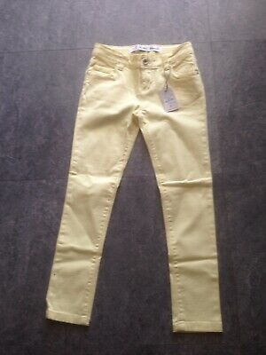 Denim and Co, age 8-9 years cotton jeans, zip front, Lemon Skinny Jeans Nwt