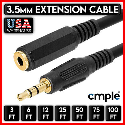 6//12//25Ft 24K Gold Plated Jack 3.5mm M-F Stereo Aux Audio Cable For Phone Tablet