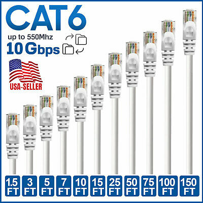 CAT 6 RJ45 Ethernet Cable Lan Network CAT6 Internet Xbox White Patch Cord LOT