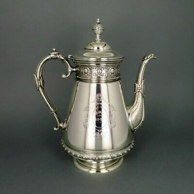 Magnificent Large Art Nouveau Coffee Pot Massive Silver Neo-Renaissance