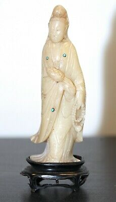 Antique Chinese carved mutton fat soapstone statue of Guanyin. 18th century RARE
