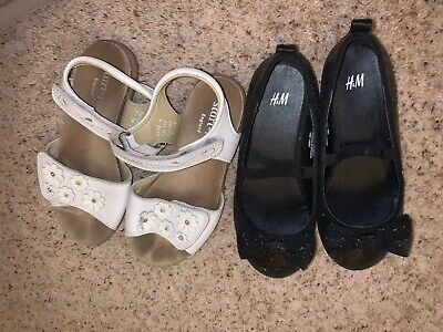 Girls  Clarks White Sandals Size 11F  Black Sparkly Pumps H and M EUR 29 US 11.5