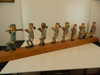 "Master Carver Elmer Jumpers,PA Carved Wood ""Chain Gang"" Tribute to Andy Anderson"