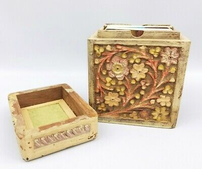 Vintage Hand Carved Wooden Double Deck Card Box Floral Pattern 1950's - 1960's