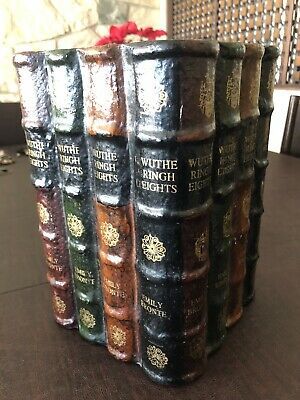 Papier-mâché Leathery Wood Waste Basket Form Wuthering Heights Books Bronte