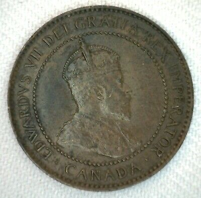 1906 Canada One Cent Coin Large Cent 1c Bronze Very Fine
