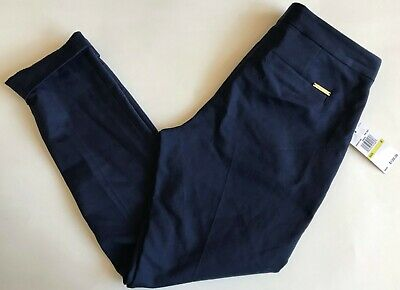 $120 NWT Womens Michael Kors Stretch Cotton Twill Cropped Ankle Dress Pants Navy