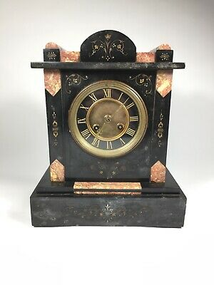 Beautiful French Mantle Clock - L. Marti - Marble & Slate
