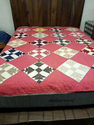 Red White Feedsack Fabrics Antique 1900s QUILT Pieced Hand Quilted