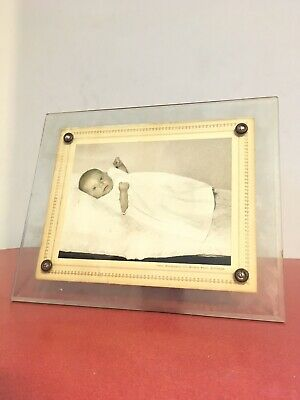 Vintage art deco bevelled glass photo frame With Baby Photo