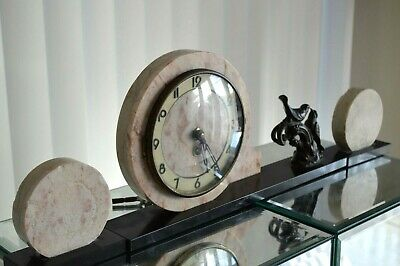 Antique Art Deco Marble Bronze Glass Mantel Clock With Key Circa 1930s