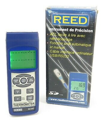 Reed SD-947 4-Channel Thermocouple Thermometer & Data Logger +/-0.4% Accuracy